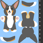 Kawaii Corgi mini plushie - tricolor
