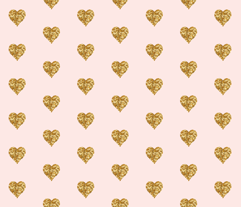 Whisper Pink Small Gold Hearts Fabric By Willowlanetextiles On Spoonflower