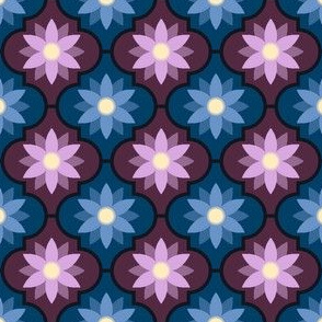 dark twilight flower tiles