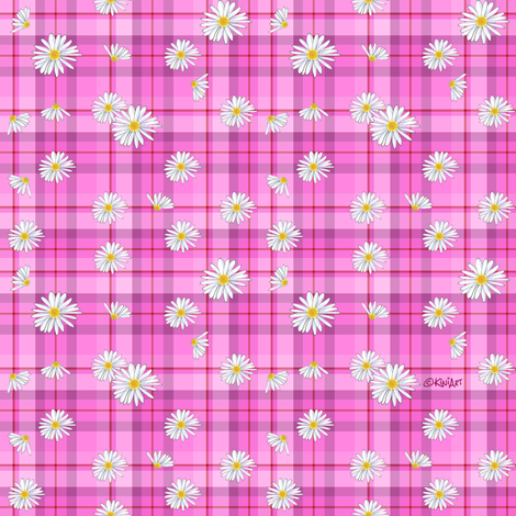 Pink Red Daisy Craze (SMALL) fabric by kiniart on Spoonflower - custom fabric
