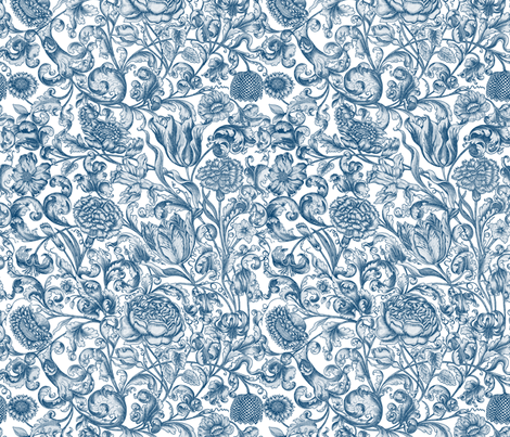 Ophelia's Posy ~ Lonely Angel Blue and White  fabric by peacoquettedesigns on Spoonflower - custom fabric