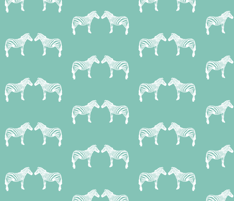 teal zebras fabric by meissa on Spoonflower - custom fabric