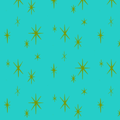 Holiday Starburst green on Turquoise-ch