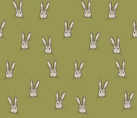 Sweet Rabbit on Olive fabric by taraput on Spoonflower - custom fabric