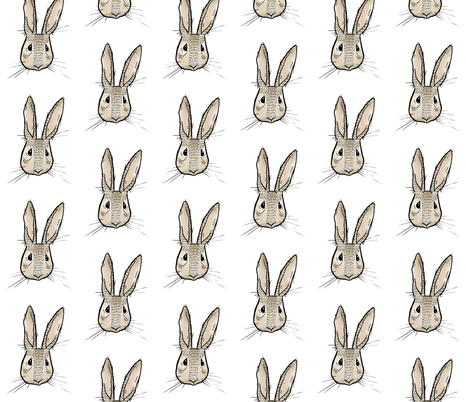 Sweet Rabbit on White fabric by taraput on Spoonflower - custom fabric