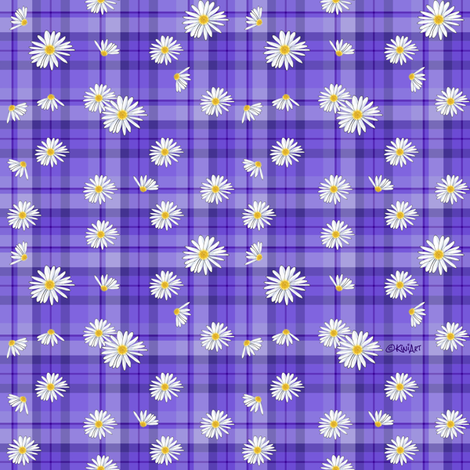 Purple Daisy Craze (SMALL) fabric by kiniart on Spoonflower - custom fabric