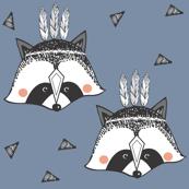racoon blue SMALL PRINT - elvelyckan