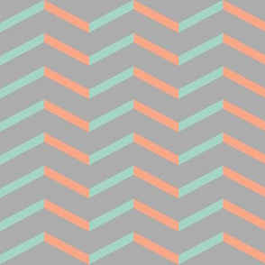mint peach chevron on grey