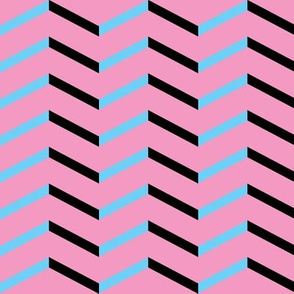 black blue chevron on pink