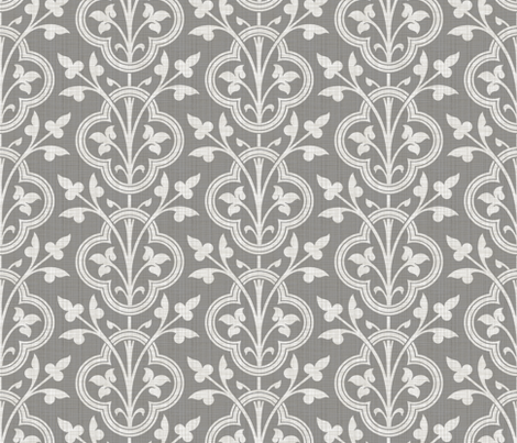 Norman Vines ~ Pewter Linen Luxe  fabric by peacoquettedesigns on Spoonflower - custom fabric