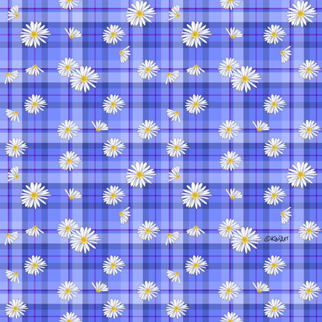 Daisy Plaid Blues (SMALL) fabric by kiniart on Spoonflower - custom fabric