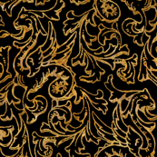 Here There Be Dragons ~ Gilt Gold on Black