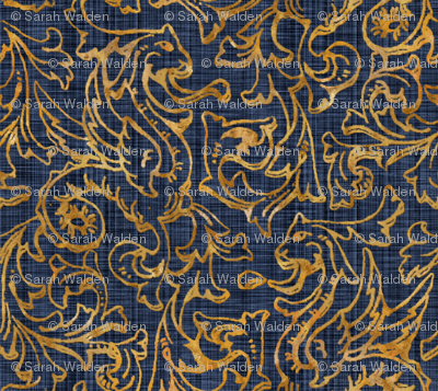 Here There Be Dragons ~ Gilt Gold on Denim Linen