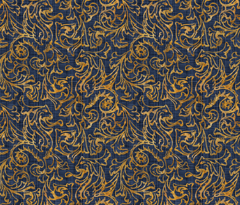 Here There Be Dragons ~ Gilt Gold on Denim Linen  fabric by peacoquettedesigns on Spoonflower - custom fabric