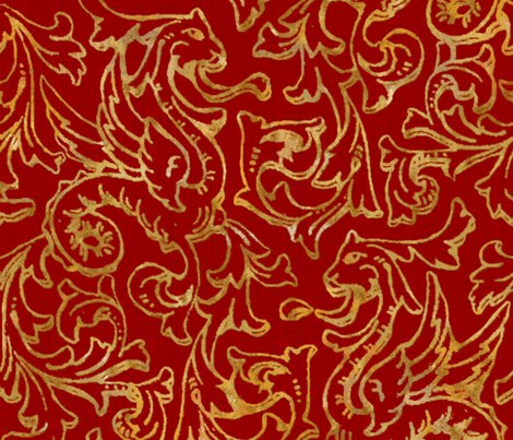 Rrhere_there_be_dragons___gilt_gold_on_royal_red_linen___peacoquette_designs___copyright_2015_shop_preview