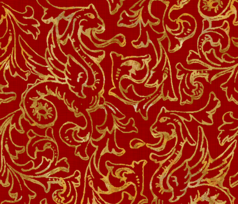 here there be dragons gilt gold on royal red linen fabric