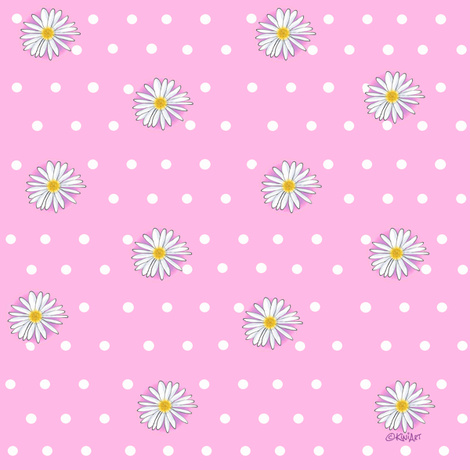 Daisies on Pink fabric by kiniart on Spoonflower - custom fabric