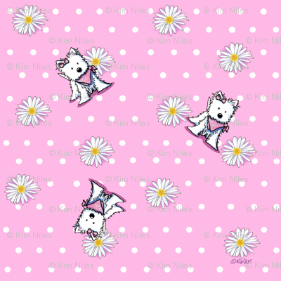 Westie Daisies On Pink