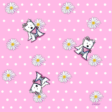 Westie Daisies On Pink fabric by kiniart on Spoonflower - custom fabric