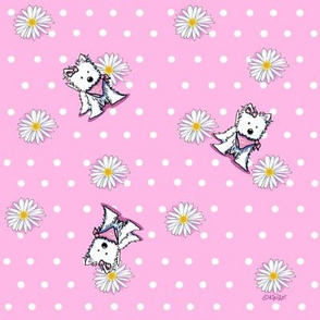 Westie Daisies On Pink