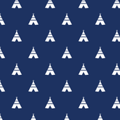 teepees white on navy