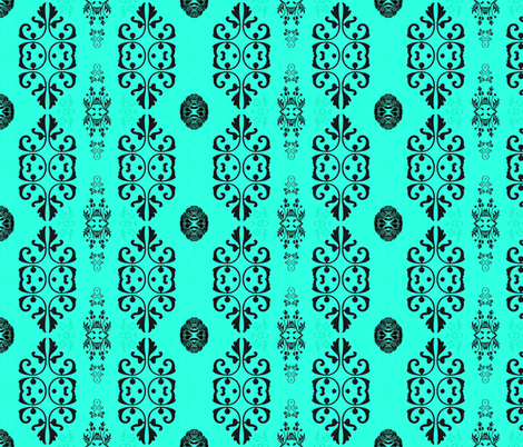 Black and Aqua Manor fabric by cruzangirl on Spoonflower - custom fabric