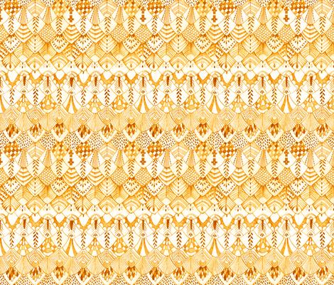 Owl Feather Desert Orange fabric by thistleandfox on Spoonflower - custom fabric