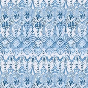 Tribal Owl Feather Delft Blue
