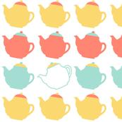teapots on white