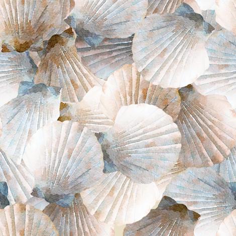 Tan Scallop Shells fabric by lauriekentdesigns on Spoonflower - custom fabric