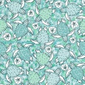 Baby Sea Turtles in Blues & Greens