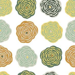Block Print Blossoms in Sunflower