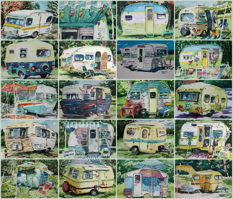 vintage_camper_fat_quarter_ fabric by simone_ritter_art on Spoonflower - custom fabric