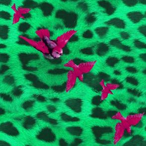 birds on diagonal leopard_mint_V2