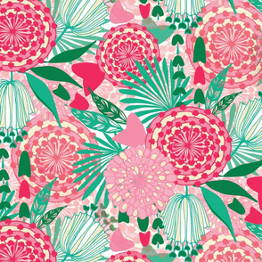 pink and mint floral
