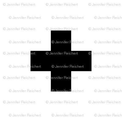Large Swiss Cross Black On White