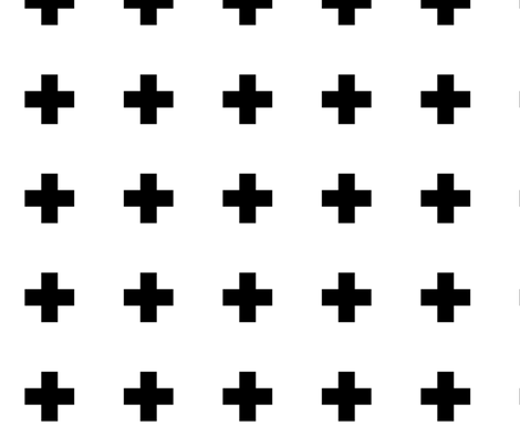 Large Swiss Cross Black On White fabric by stoneamazon on Spoonflower - custom fabric