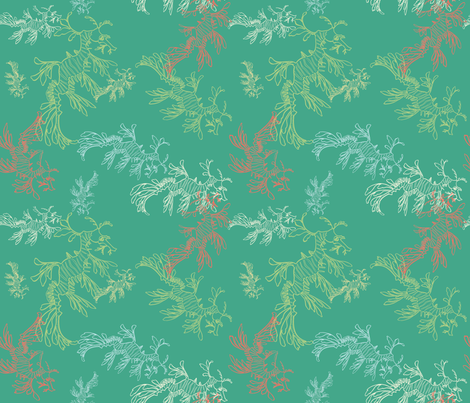 leafy sea dragons in ocean fabric by pinkowlet on Spoonflower - custom fabric