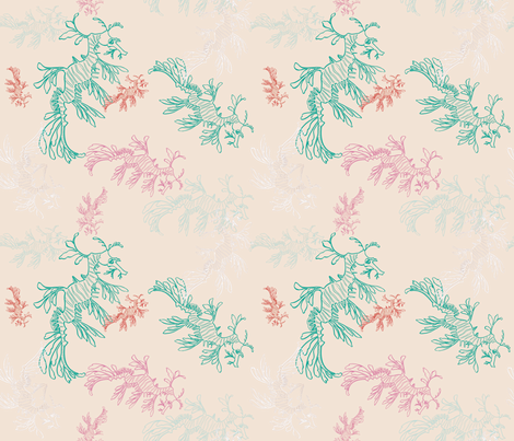 leafy sea dragons light fabric by pinkowlet on Spoonflower - custom fabric