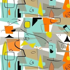 Mid-century modern abstract-ed