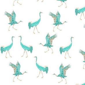 cranes turquoise