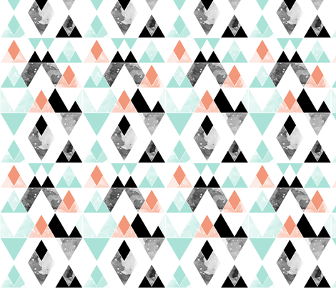 geo mountains mint, coral, black fabric by igotstripes_studio on Spoonflower - custom fabric