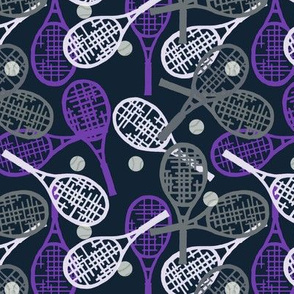 Ladies Tennis - Purple, Gray and White Racquets