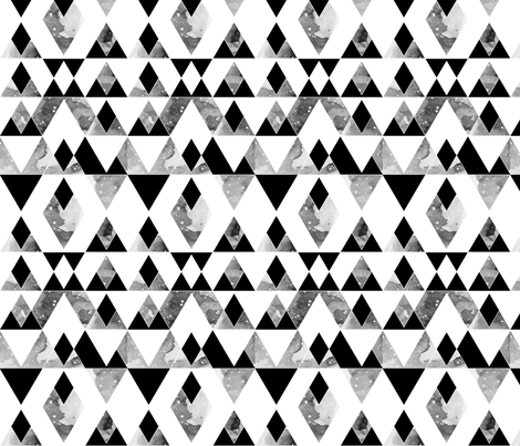 geo mountains black on white fabric by igotstripes_studio on Spoonflower - custom fabric