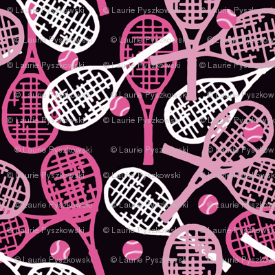 Tennis Racquets in Pink & White with Pink Balls on Black