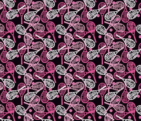 Tennis Racquets in Pink & White with Pink Balls on Black fabric by lauriekentdesigns on Spoonflower - custom fabric