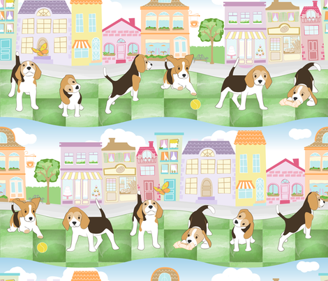 Beagles: cutest_pup_in_town fabric by mia_valdez on Spoonflower - custom fabric