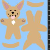 Kawaii American Pitbull Terrier mini plushie - fawn
