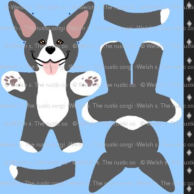 Kawaii American Pitbull Terrier mini plushie - black white