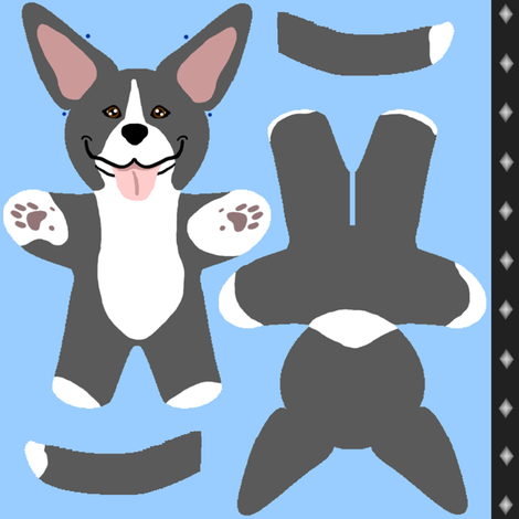 Kawaii American Pitbull Terrier mini plushie - black white fabric by rusticcorgi on Spoonflower - custom fabric
